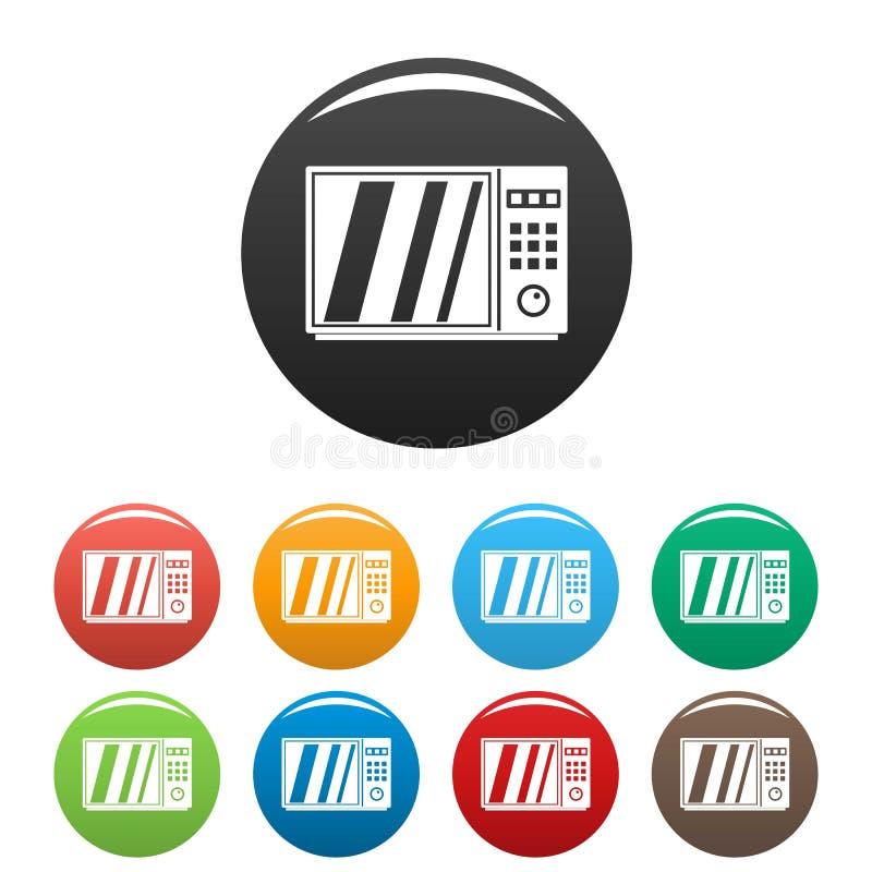 Vector fijado iconos eléctricos del color del horno de microondas stock de ilustración