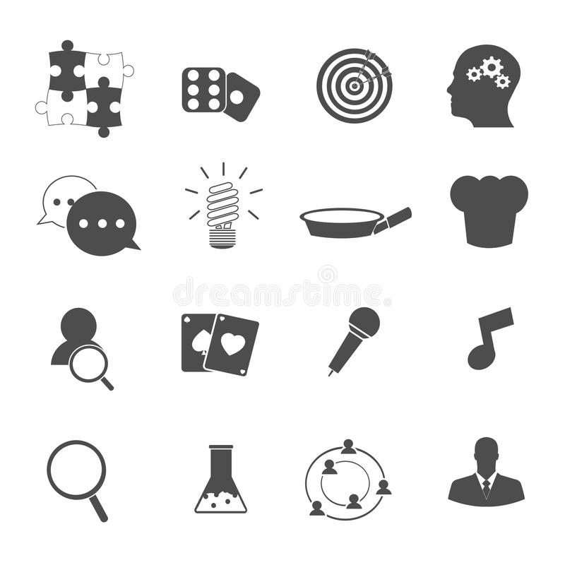 Vector fijado iconos personales de la habilidad stock de ilustración