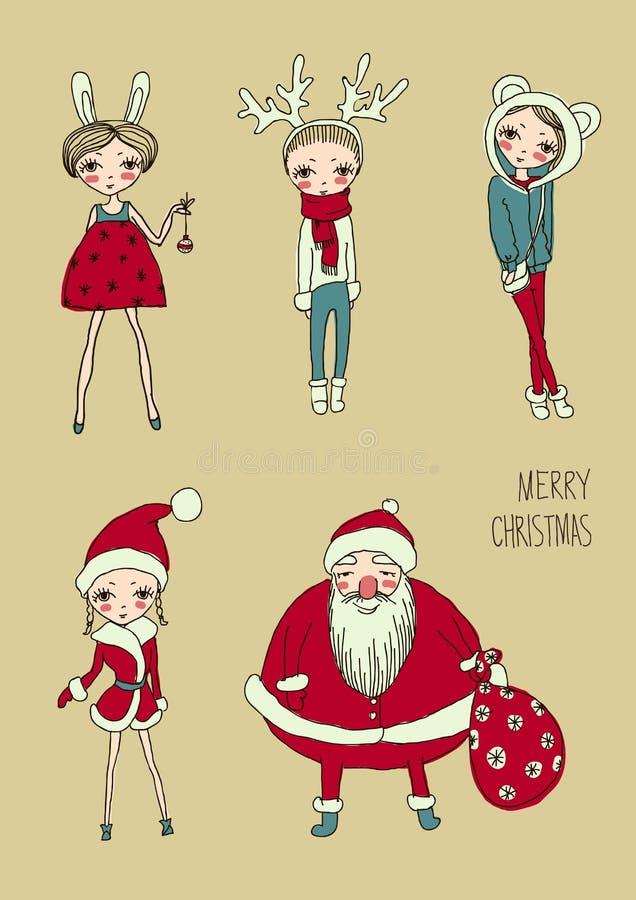 Vector fijado muchachas divertidas de la Navidad ilustración del vector