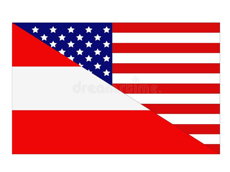 American and Austrian flags. Vector file of American and Austrian flags royalty free illustration
