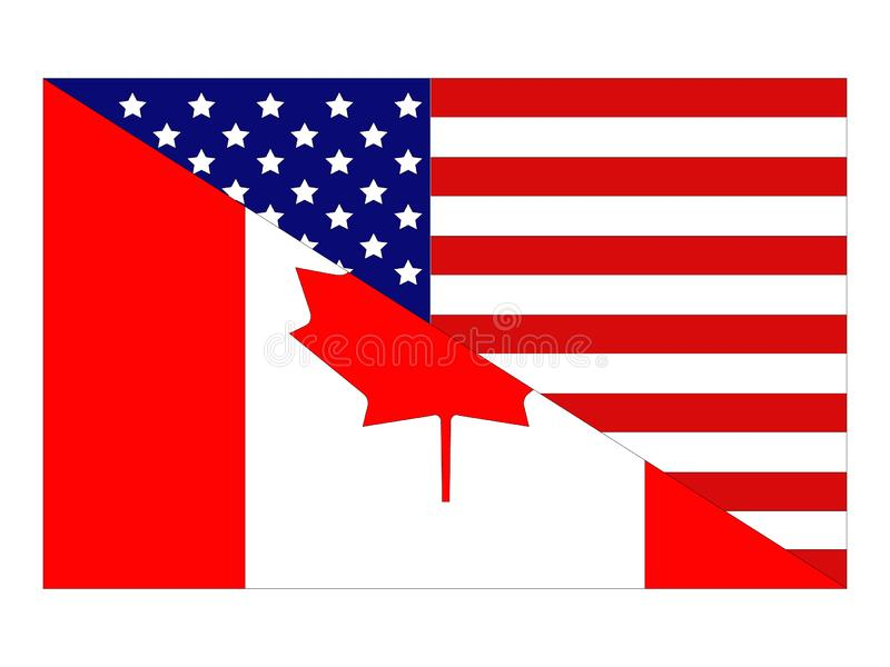American and Canadian flags. Vector file of American and Canadian flags royalty free illustration