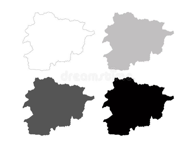 Andorra map - Principality of Andorra. Vector file of Andorra map - Principality of Andorra, sovereign landlocked microstate on the Iberian Peninsula royalty free illustration