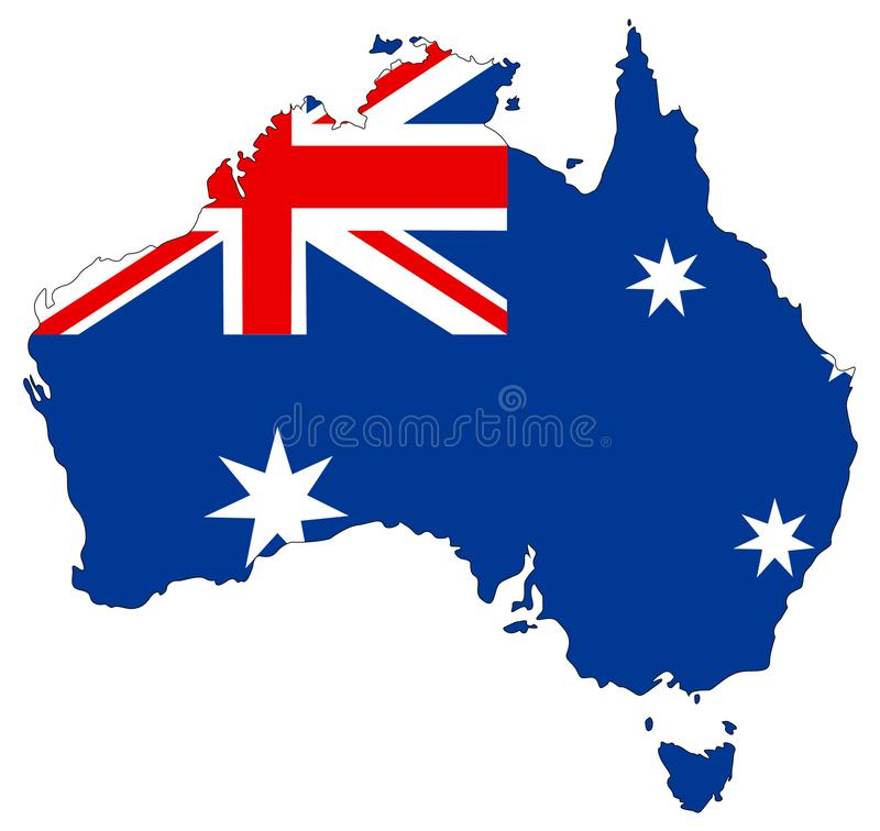 Australia map and flag - country of the Australian continent. Vector file of Commonwealth of Australia, map and flag - sovereign country comprising the mainland vector illustration