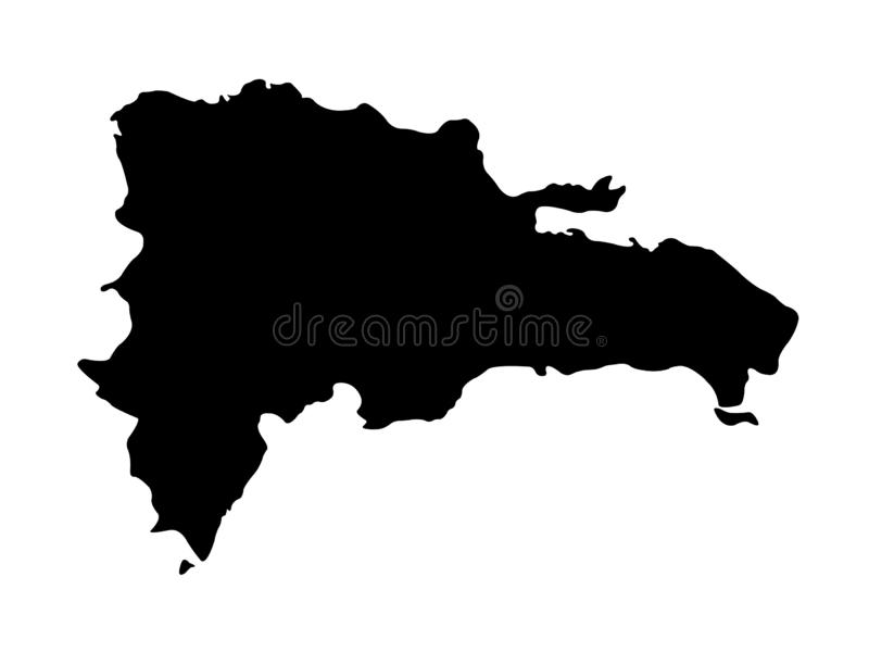 Dominican Republic map - island country in the Greater Antilles archipelago of the Caribbean region. Vector file of Dominican Republic map - country located in royalty free illustration