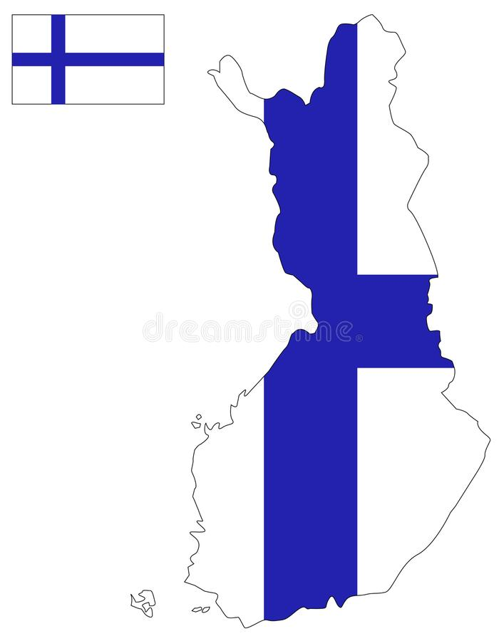 Finland map and flag - country in Northern Europe. Vector file of Finland map and flag - country in Northern Europe bordering the Baltic Sea stock illustration
