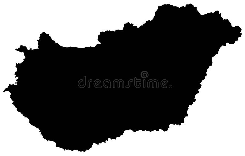 Hungary map - country in Central Europe royalty free illustration