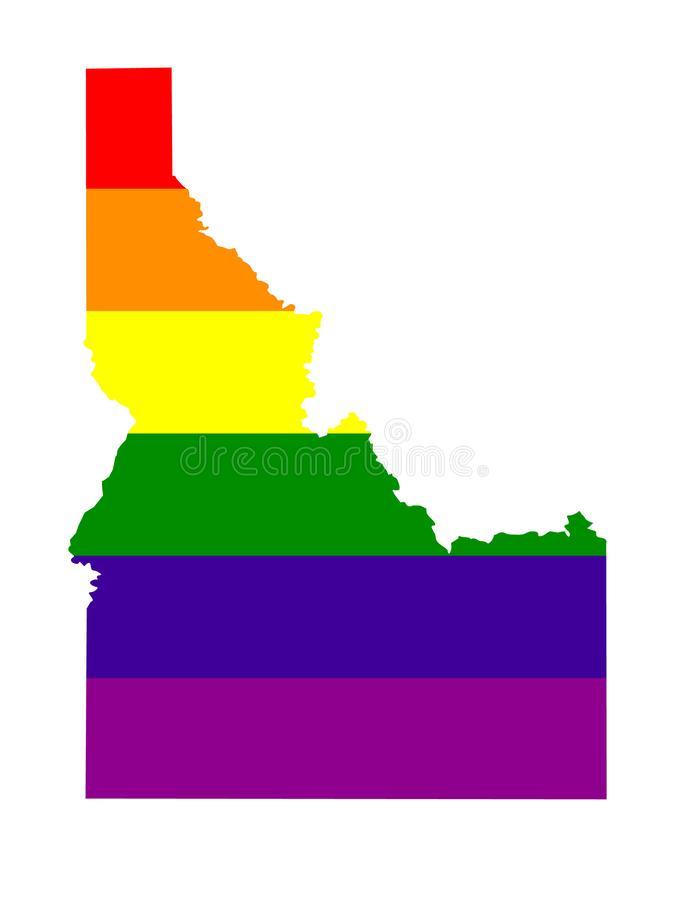 Idaho map with LGBT flag. Vector file of Idaho map with LGBT flag - rainbow flag vector illustration