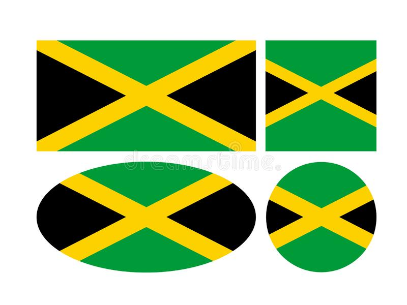 Jamaica flag - island country situated in the Caribbean Sea. Vector file of Jamaica flag - island country situated in the Caribbean Sea royalty free illustration