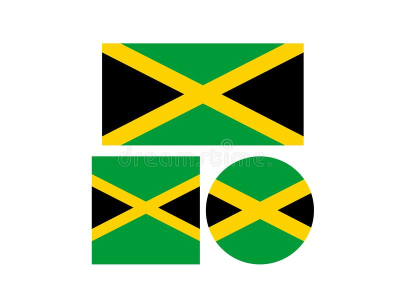 Jamaica flag - island country situated in the Caribbean Sea stock illustration