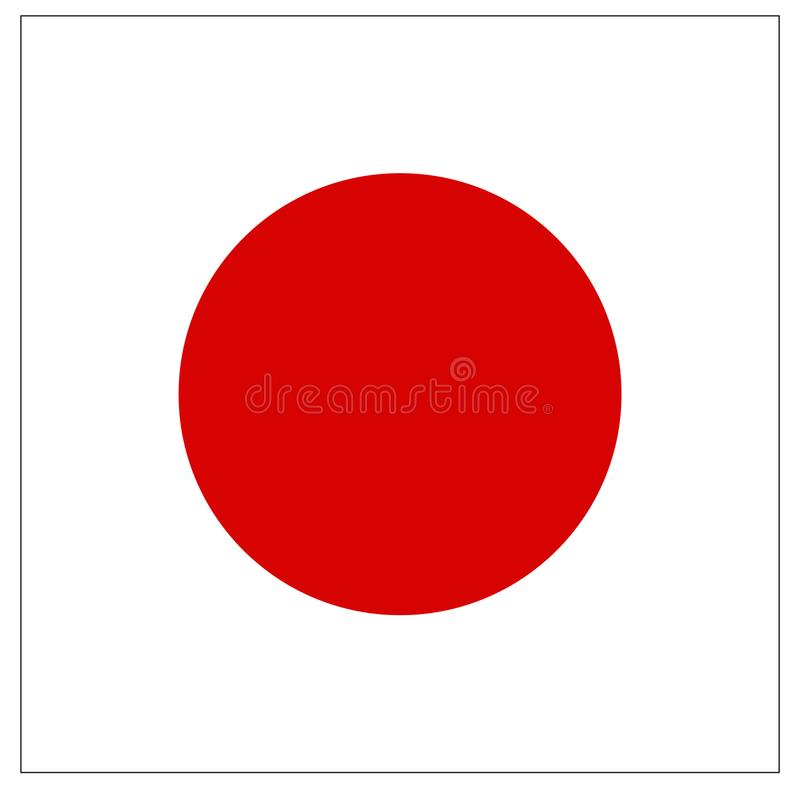 Japan flag - island country in Asia stock illustration