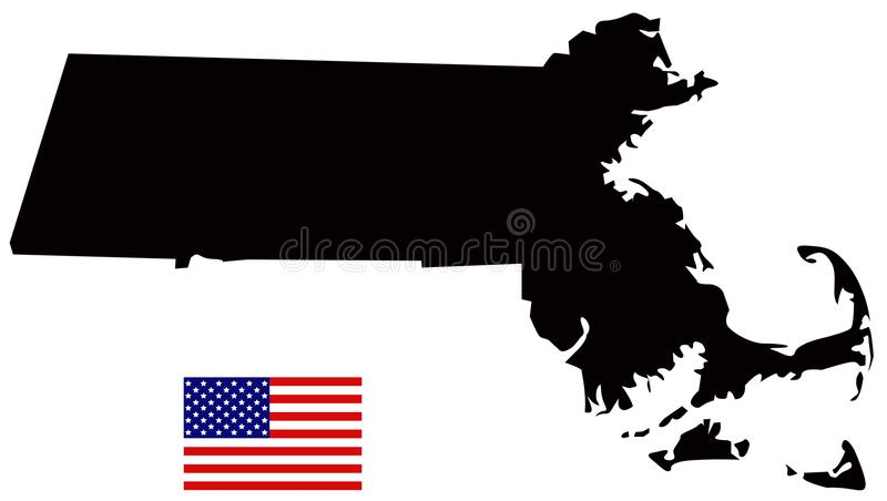 royalty free vector download massachusetts map with usa flag state in the new england region of the northeastern