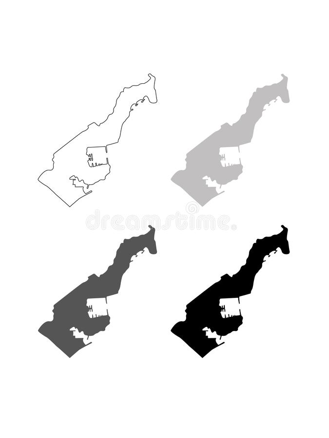 Monaco map - Principality of Monaco. Vector file of Monaco map - Principality of Monaco, sovereign city-state, country and microstate on the French Riviera in stock illustration