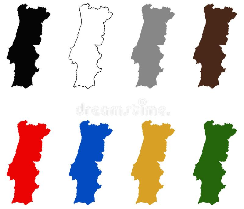 Portugal map - country on the Iberian Peninsula in southwestern Europe. Vector file of Portugal map - country located mostly on the Iberian Peninsula in vector illustration