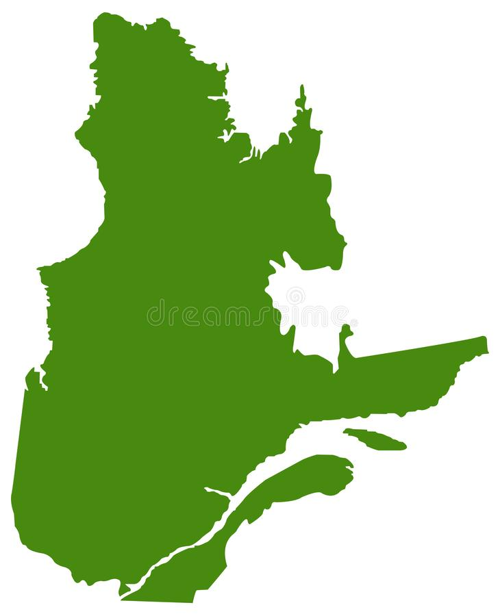 Quebec map - the biggest province and territory of Canada vector illustration