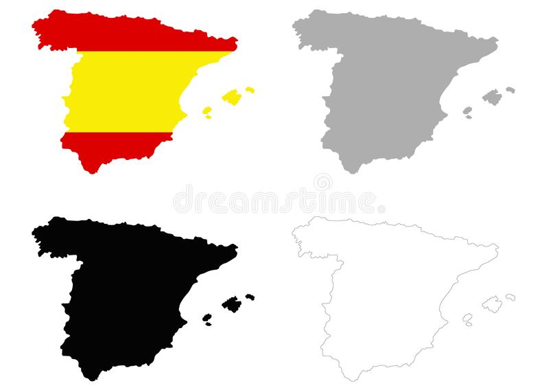 Spain map and flag - sovereign state on the Iberian Peninsula in Europe. Vector file of Spain map and flag - sovereign state mostly located on the Iberian vector illustration