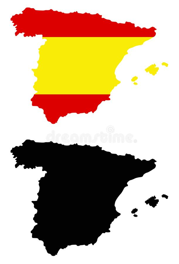 Spain map and flag - sovereign state on the Iberian Peninsula in Europe. Vector file of Spain map and flag - sovereign state mostly located on the Iberian stock illustration