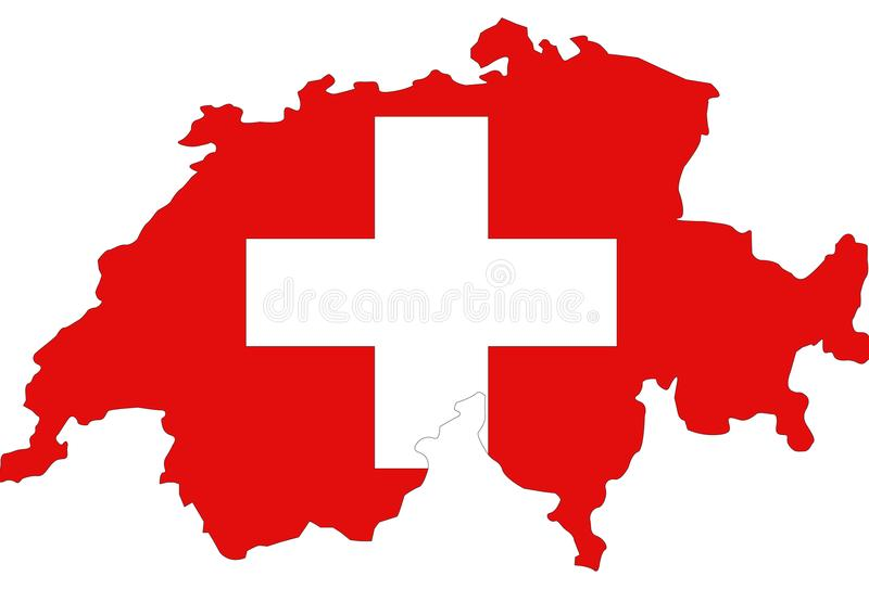 Switzerland, Swiss Confederation map and flag - sovereign state in Europe royalty free illustration