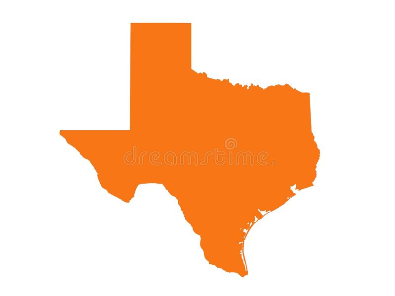 Texas map - the second largest state in the United States. Vector file of Texas map - the second largest state in the United States vector illustration