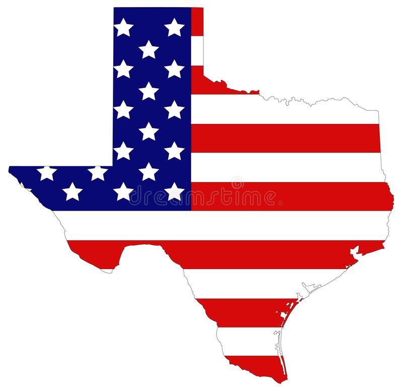 Texas map with USA flag - the second largest state in the United States. Vector file of Texas map with USA flag - the second largest state in the United States stock illustration