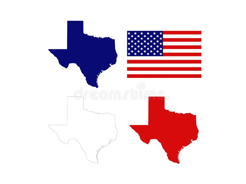Texas maps with USA flag - the second largest state in the United States. Vector file of Texas maps with USA flag - the second largest state in the United States royalty free illustration