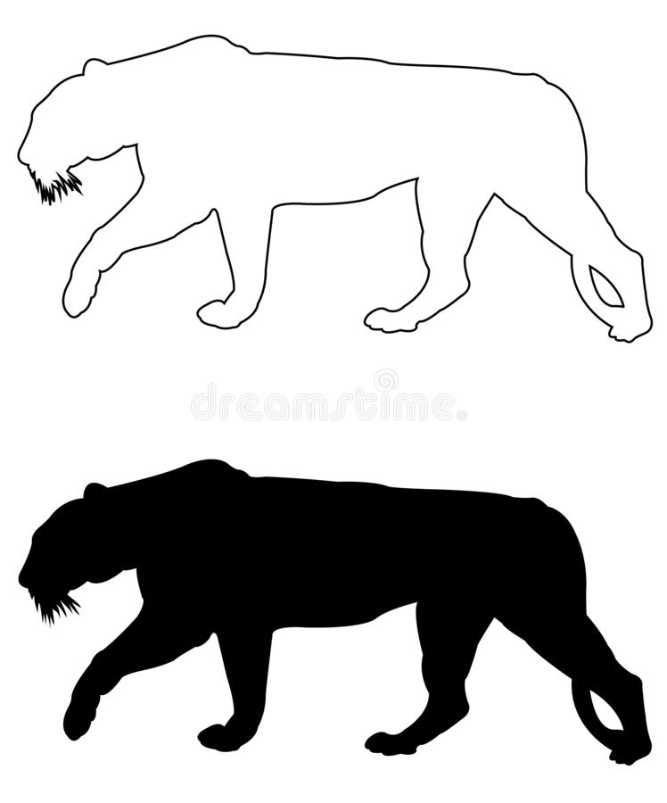 Tiger silhouette - the largest wildlife cat. Vector file of tiger silhouette - the largest wildlife cat stock illustration