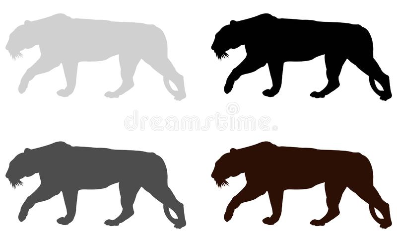 Tiger silhouette - the largest wildlife cat. Vector file of tiger silhouette - the largest wildlife cat royalty free illustration