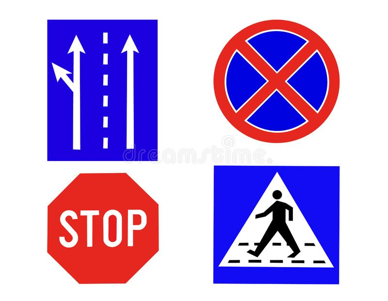 Traffic or road signs stock illustration