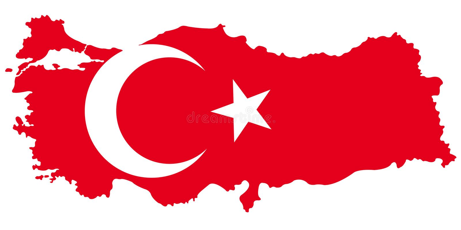 Turkey map and flag - transcontinental country in Eurasia vector illustration
