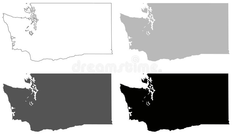 download washington state map state in the pacific northwest region of the united states stock