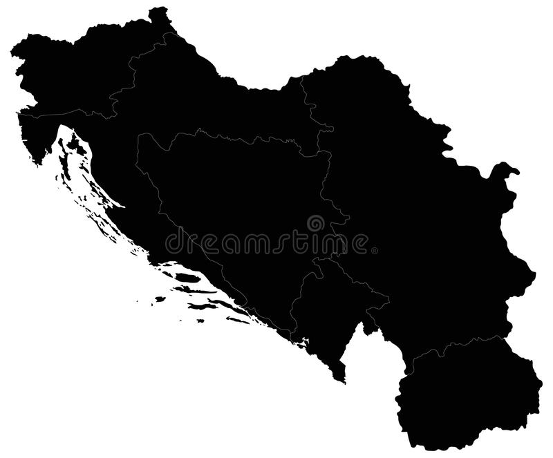 Yugoslavia map - country in Southeastern and Central Europe for most of the 20th century. Vector file of Yugoslaviaa map - country in Southeastern and Central vector illustration