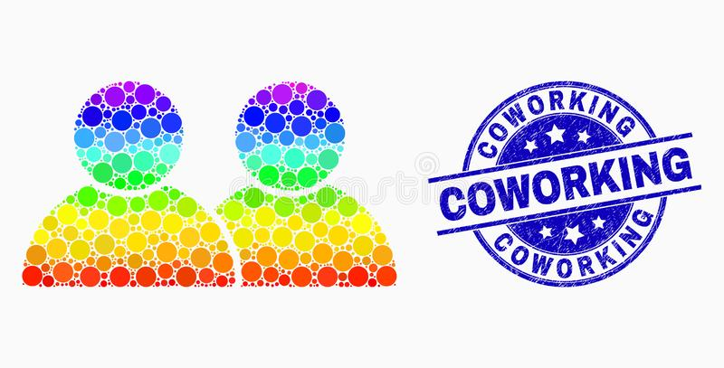 Vector filigrana coloreada arco iris de Coworking de Dot Users Icon y del Grunge ilustración del vector