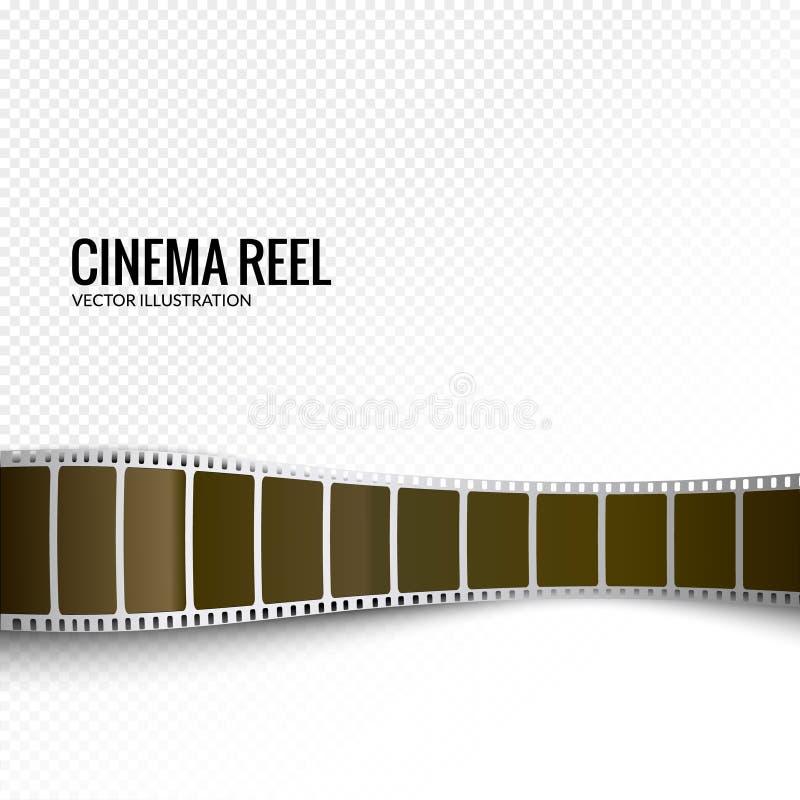 Vector film strip. Movie 3d filmstrip background. Film reel picture cinematography royalty free illustration