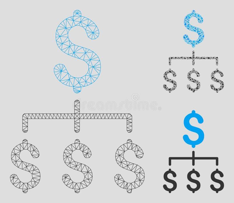 Vector financiero Mesh Carcass Model de la jerarquía e icono del mosaico del triángulo stock de ilustración