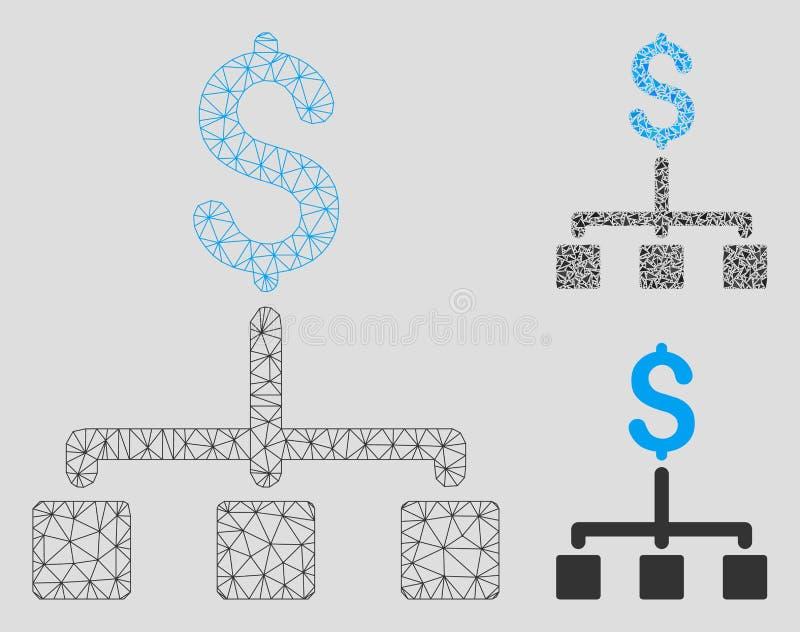 Vector financiero Mesh Network Model de la jerarquía e icono del mosaico del triángulo libre illustration