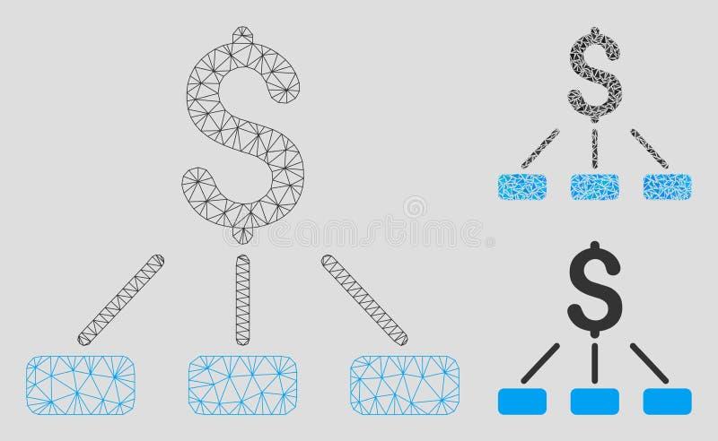 Vector financiero Mesh Wire Frame Model de la jerarquía e icono del mosaico del triángulo stock de ilustración