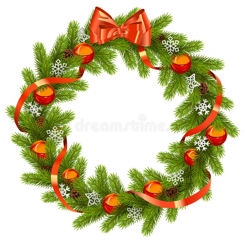 Vector Fir Wreath with Red Decorations stock illustration