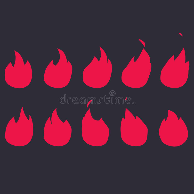 Vector Fire Animation Sequence. Sprite sheet flame royalty free stock images