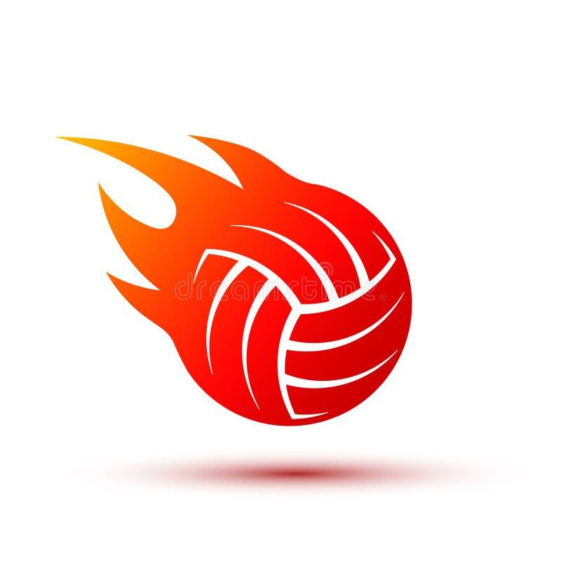 Vector fire ball logo design. Fiery volleyball ball. vector illustration