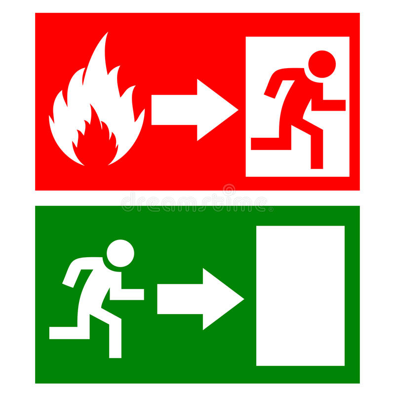 Vector fire exit signs royalty free illustration