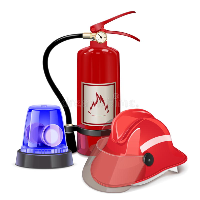 Vector Fire Prevention Concept. On white background royalty free illustration