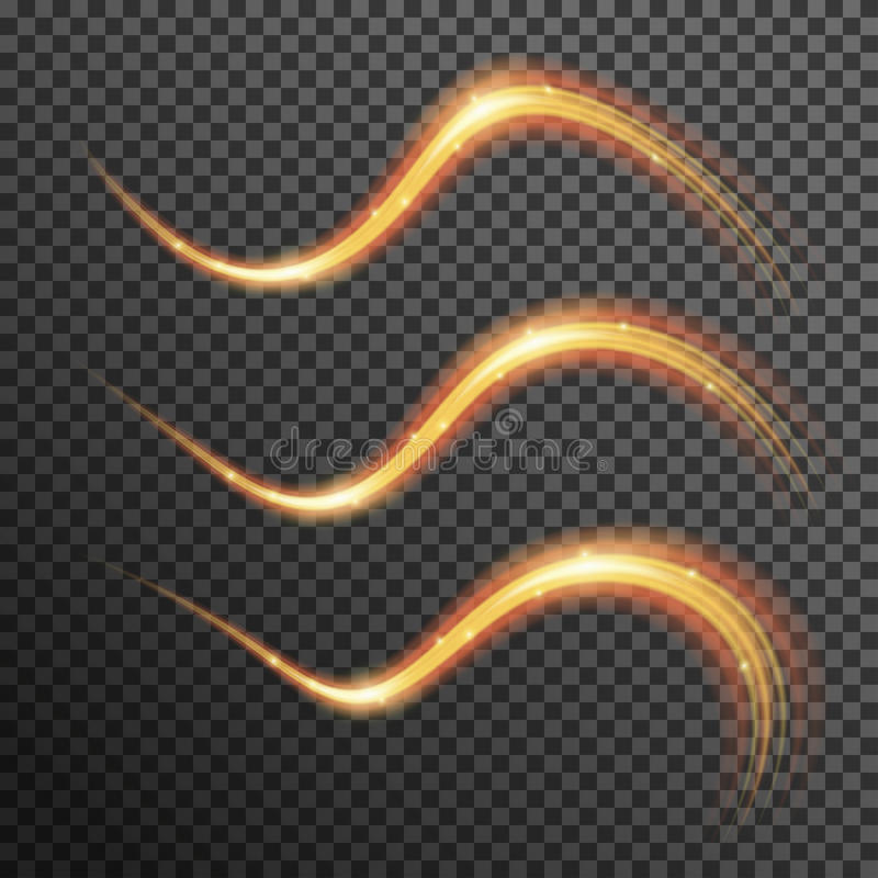 Vector fire sparkle spiral wave line with flying sparkling flash lights stock illustration