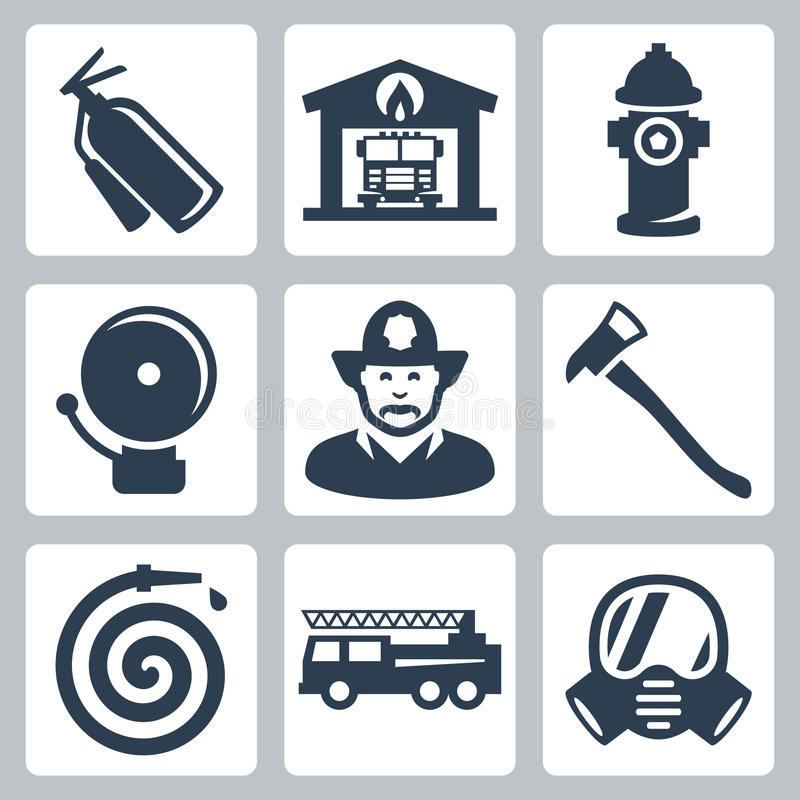 Vector fire station icons set. Extinguisher, fire house, hydrant, alarm, fireman, axe and hose, fire truck, gas mask vector illustration