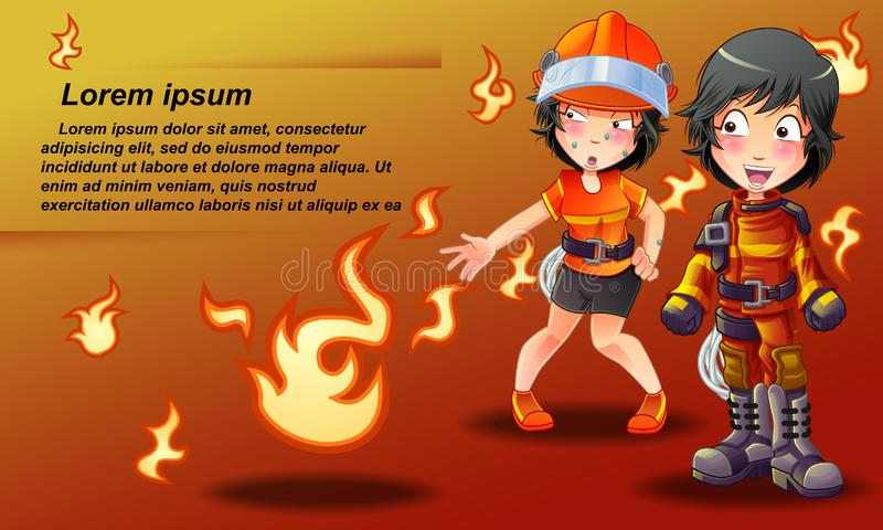 Fireman banner in cartoon style. royalty free illustration