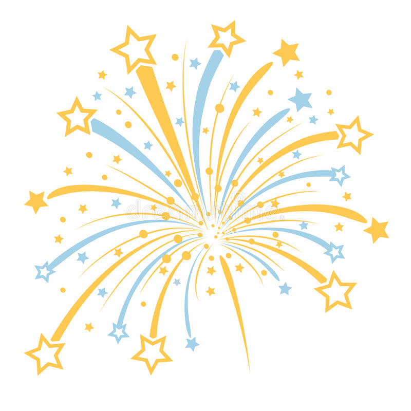 Vector firework. With yellow and blue stars on white background vector illustration