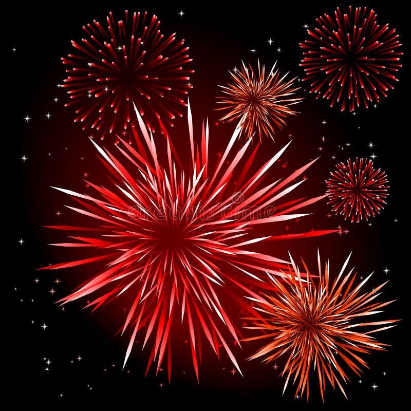 Vector fireworks. Abstract illustration of fireworks over a black sky royalty free illustration