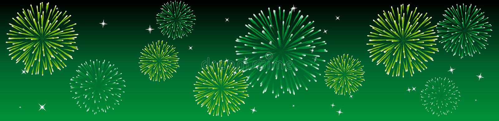 Vector fireworks. Abstract vector illustration of fireworks in the sky in green stock illustration