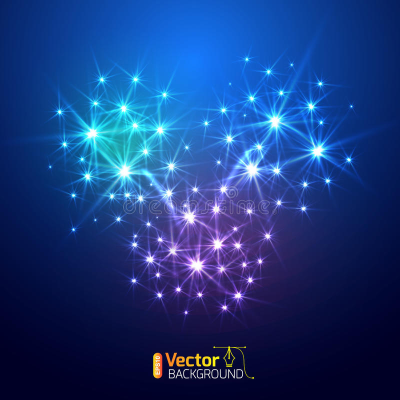 Vector fireworks background stock illustration