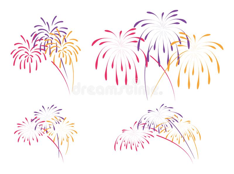 Vector fireworks background stock illustration