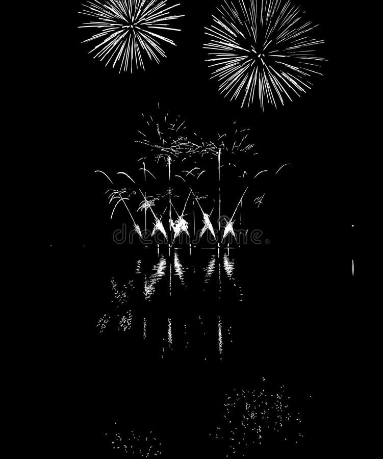 Vector Fireworks with reflection on lake royalty free stock image