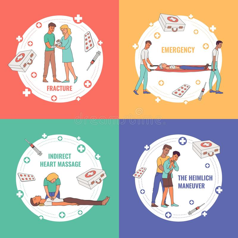 Vector first aid, emergency scenes set. First aid, emergency and medical rescue posters set. Male, female nurses and doctors doing indirect heart massage and vector illustration